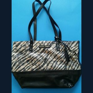 Ellen Tracy Black Animal Print Handbag